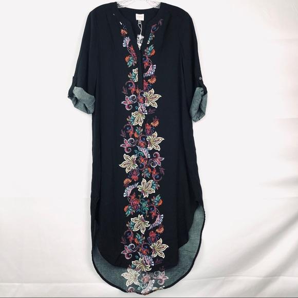 76755d7e01c Cupio 3 4 Sleeve Floral Printed V-Neck Tunic